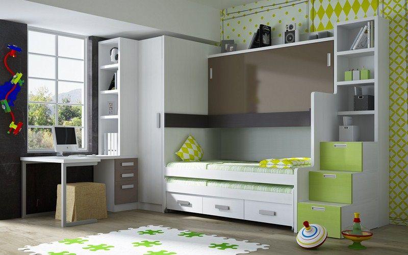Dormitorios con tres camas armarios y zona de estudio dormitorios juveniles e infantiles - Cama litera abatible ...