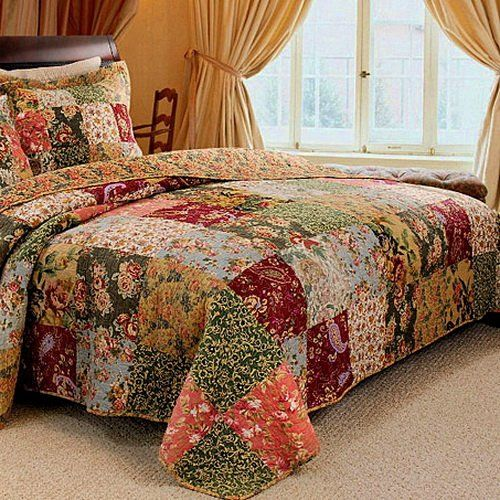 French Country Patchwork Quilted Bedspread Set Oversized King To The Floor Dormitorio De Campo Colchas Sencillas Dormitorios