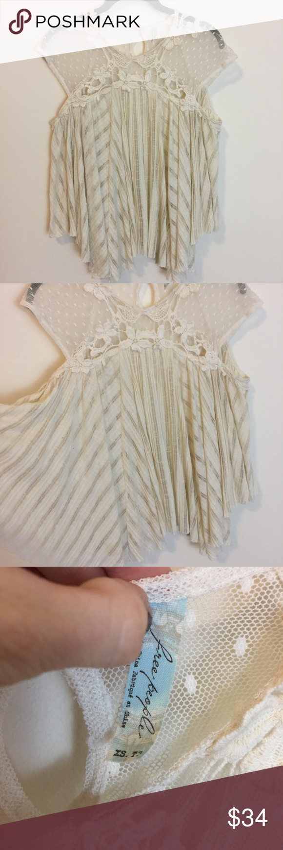 Free People Ivory Sheer Asymmetrical Blouse Top Free People Top with short sleeves and is sheer with stripe like pattern. Worn lightly as is. Free People Tops