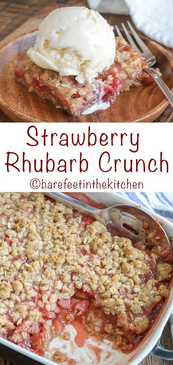 Strawberry Rhubarb Crunch | barefeetinthekitchen.com