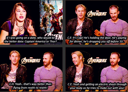 """If I was going on a date, who would be the better date: Cap or Thor?"" In which the Chris' make fun of each other."