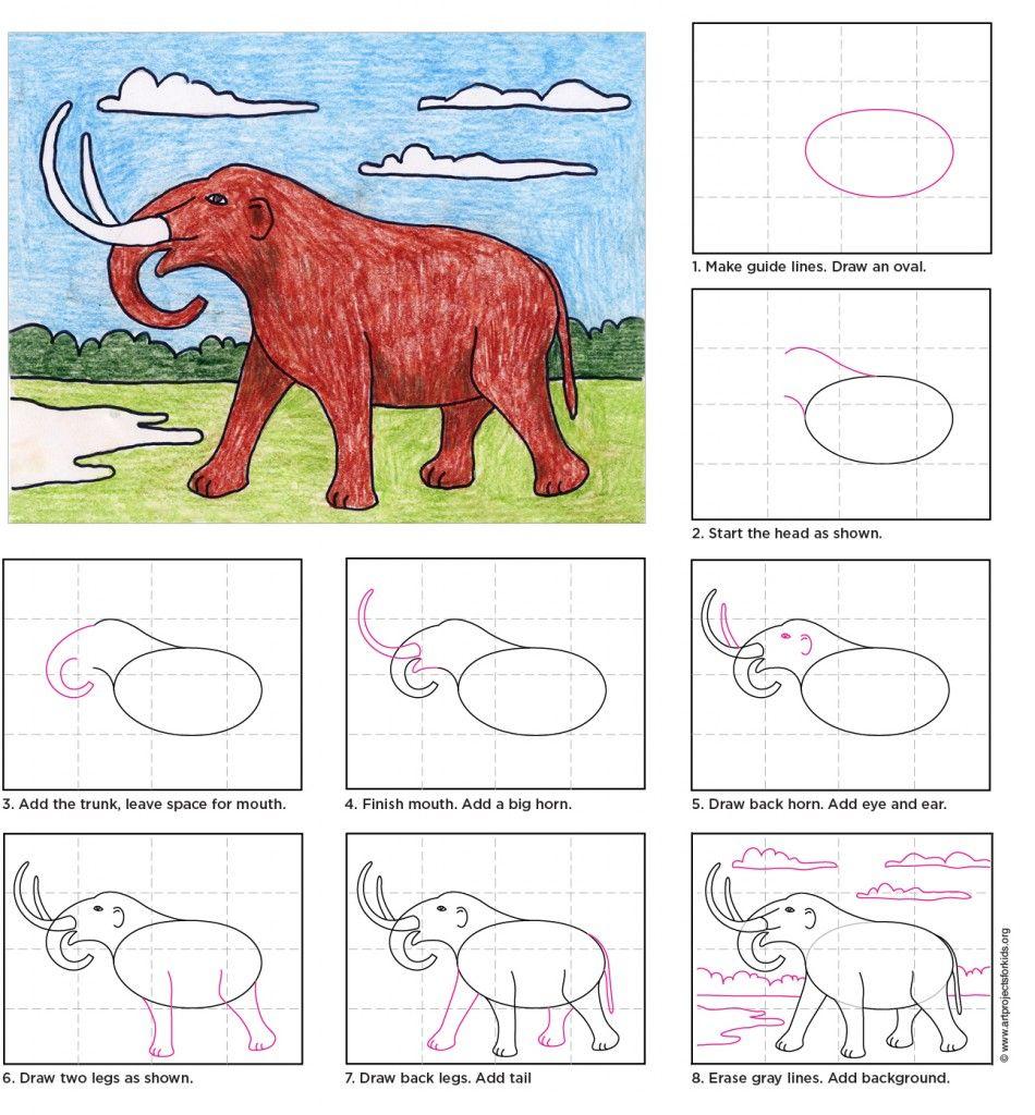 Draw a Mastodon Drawings, Learn art, Art worksheets