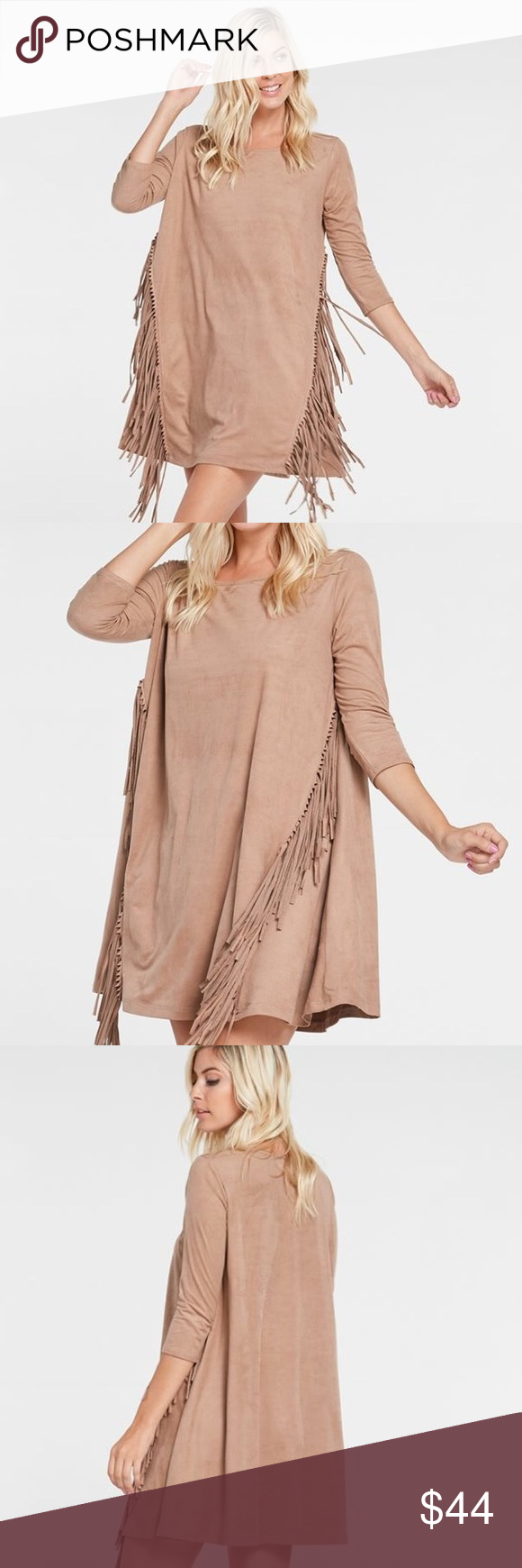 The Fawn Dress The Fawn dress is a suede beauty like no other. Be a goddess in this fun, fringe, sassy dress. 3/4 length sleeve, short in length, angled fridge down both sides of the front. MACARON (Rose/taupe) color.  Material: 95% POLYESTER 5% SPANDEX Owl About Happy  Dresses