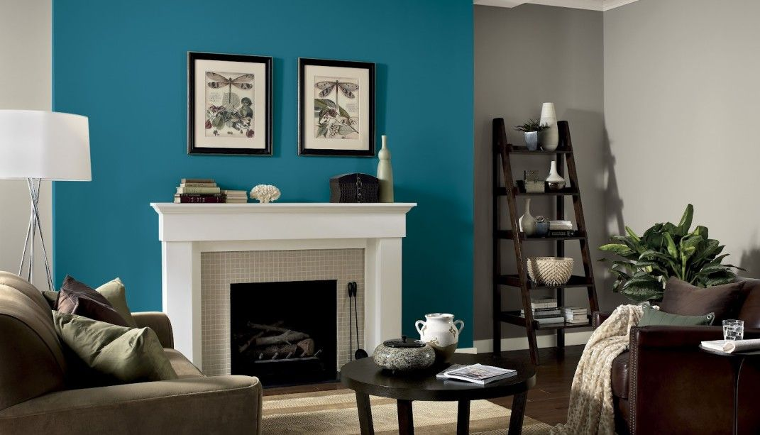 Turquoise Paint With White Fireplace Is Clean And Bright