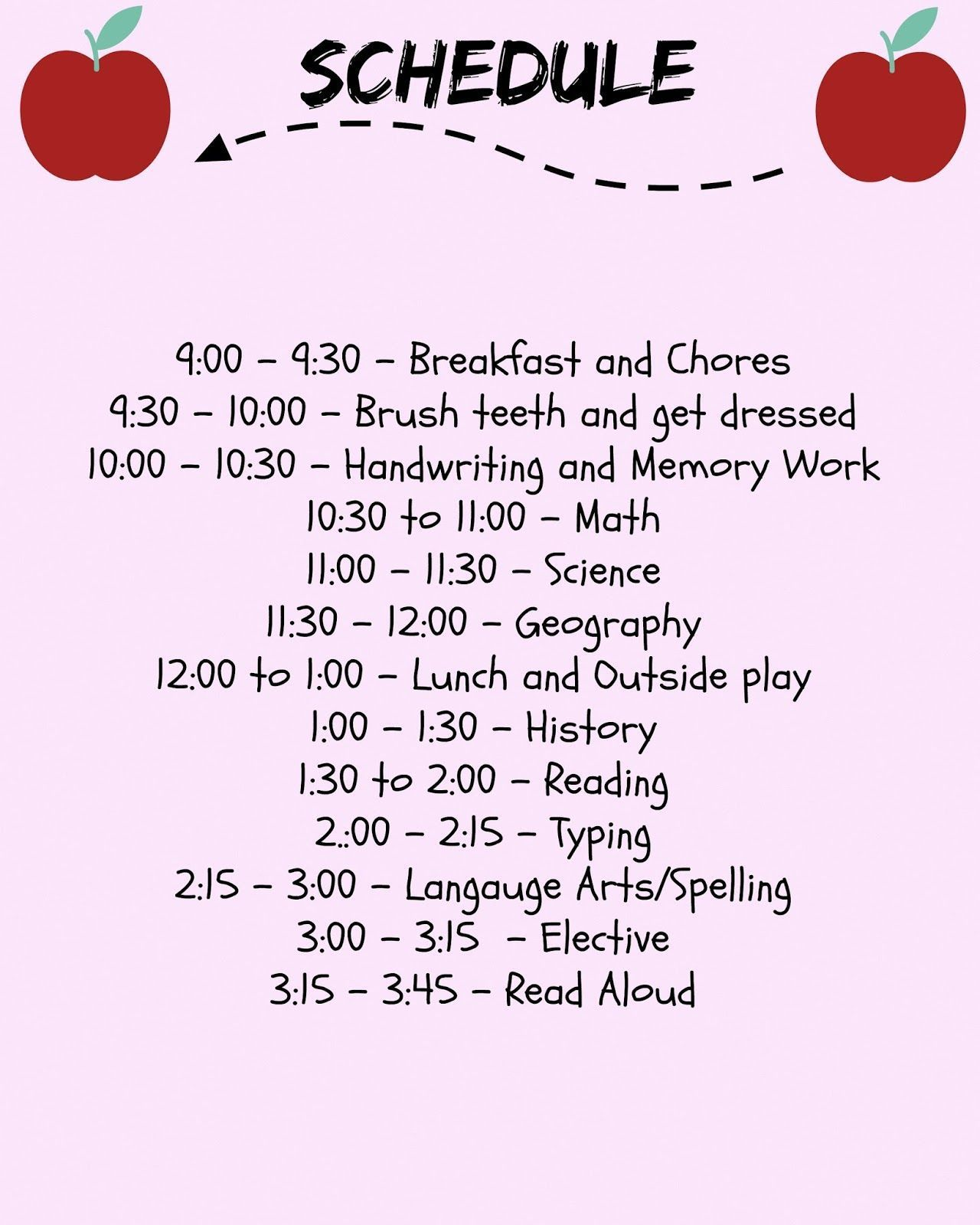 Hey Guys This Is A Sample Of What Our Homeschool Schedule