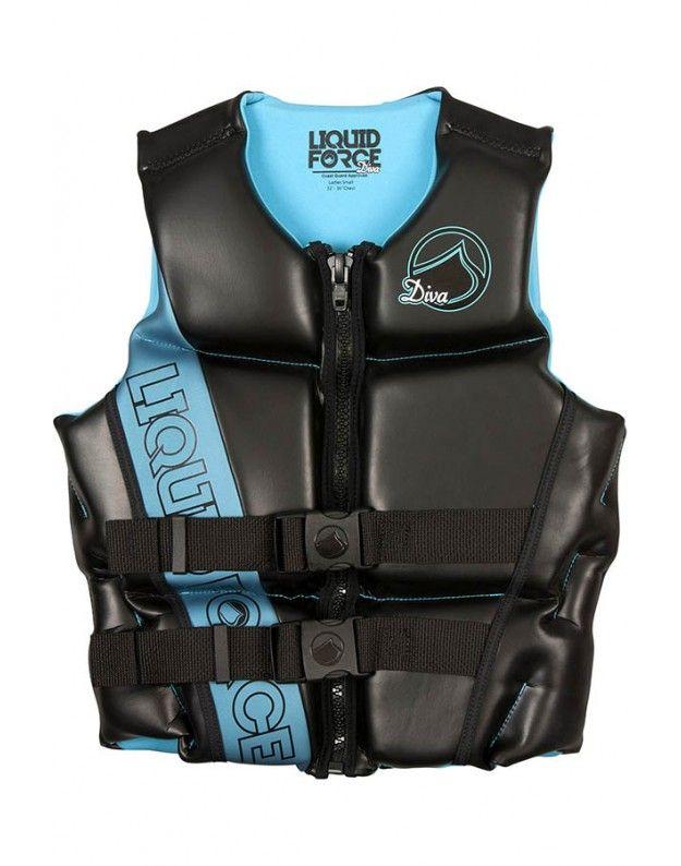 Liquid Force Diva Cga Vest In Black And Blue Wakesurf