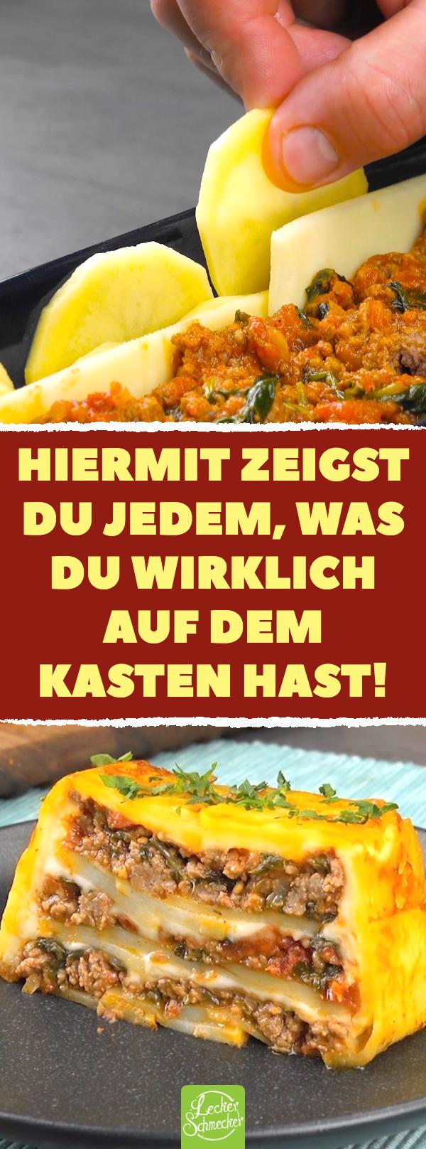 Aus der Kastenform: Kartoffelauflauf mit Hackfleisch, Spinat, Tomaten & Käse