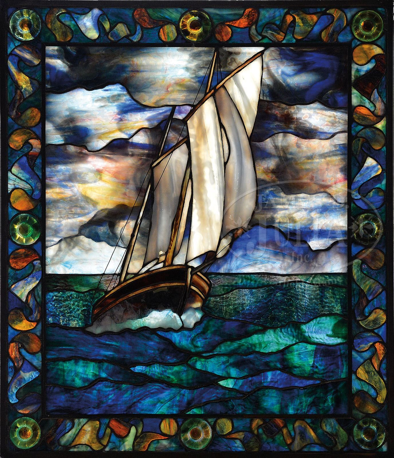 Contemporary Nautical Stained Gl Window