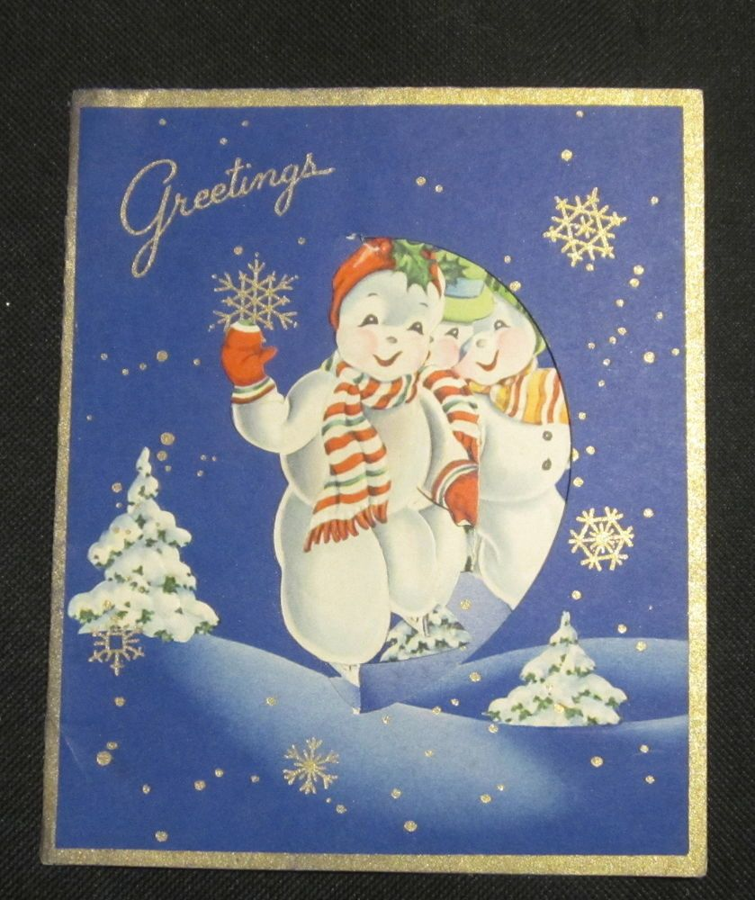 Vintage Pop-up Dancing Snowman Christmas Card Neat Wallace Brown