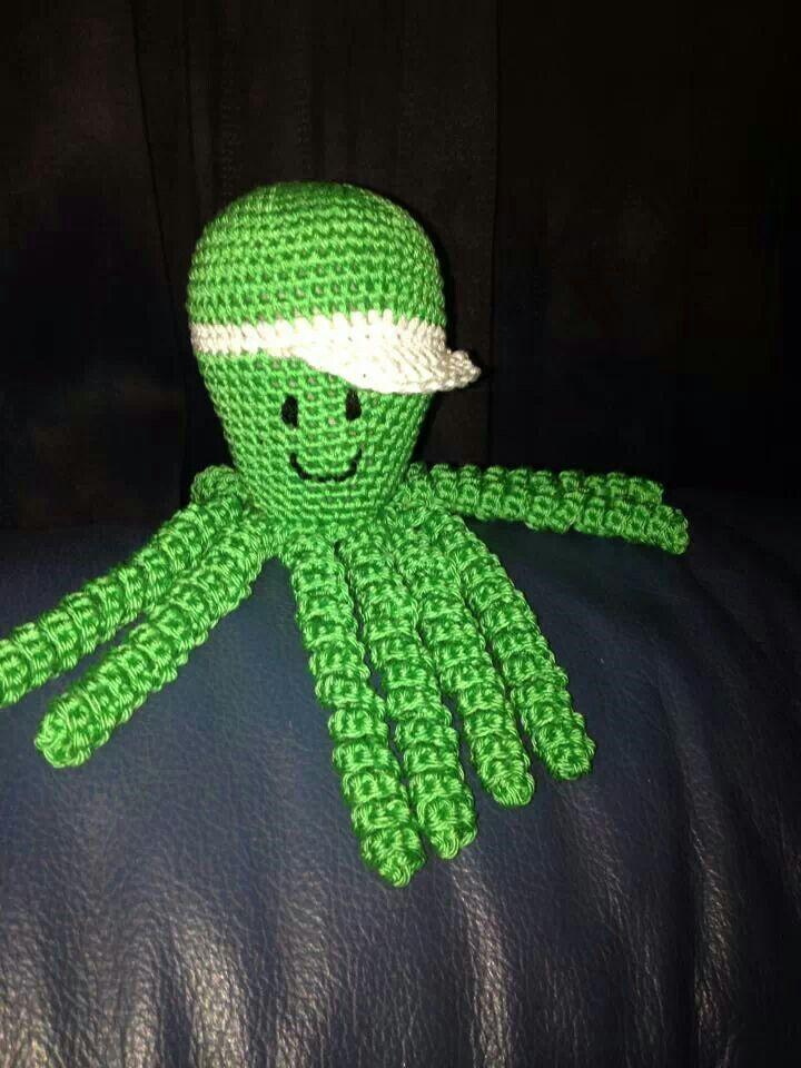 Dit groene inktvisje is gemaakt door Kathleen Veltens.