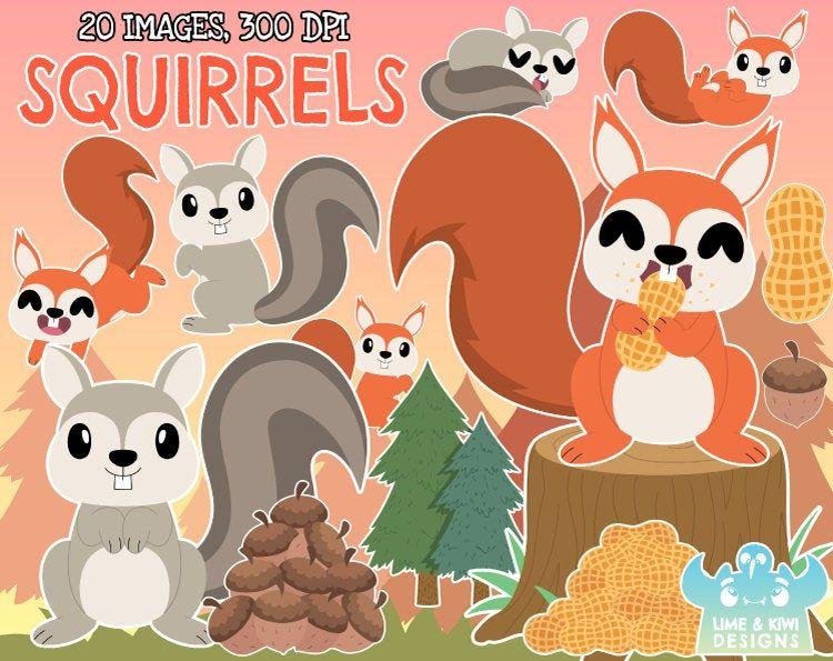 30+ Woodland Animals Squirrel Clipart
