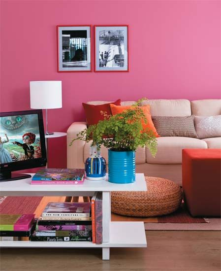 salas pequenas mais de 40 ambientes cheios de estilo living rooms pink walls and small. Black Bedroom Furniture Sets. Home Design Ideas
