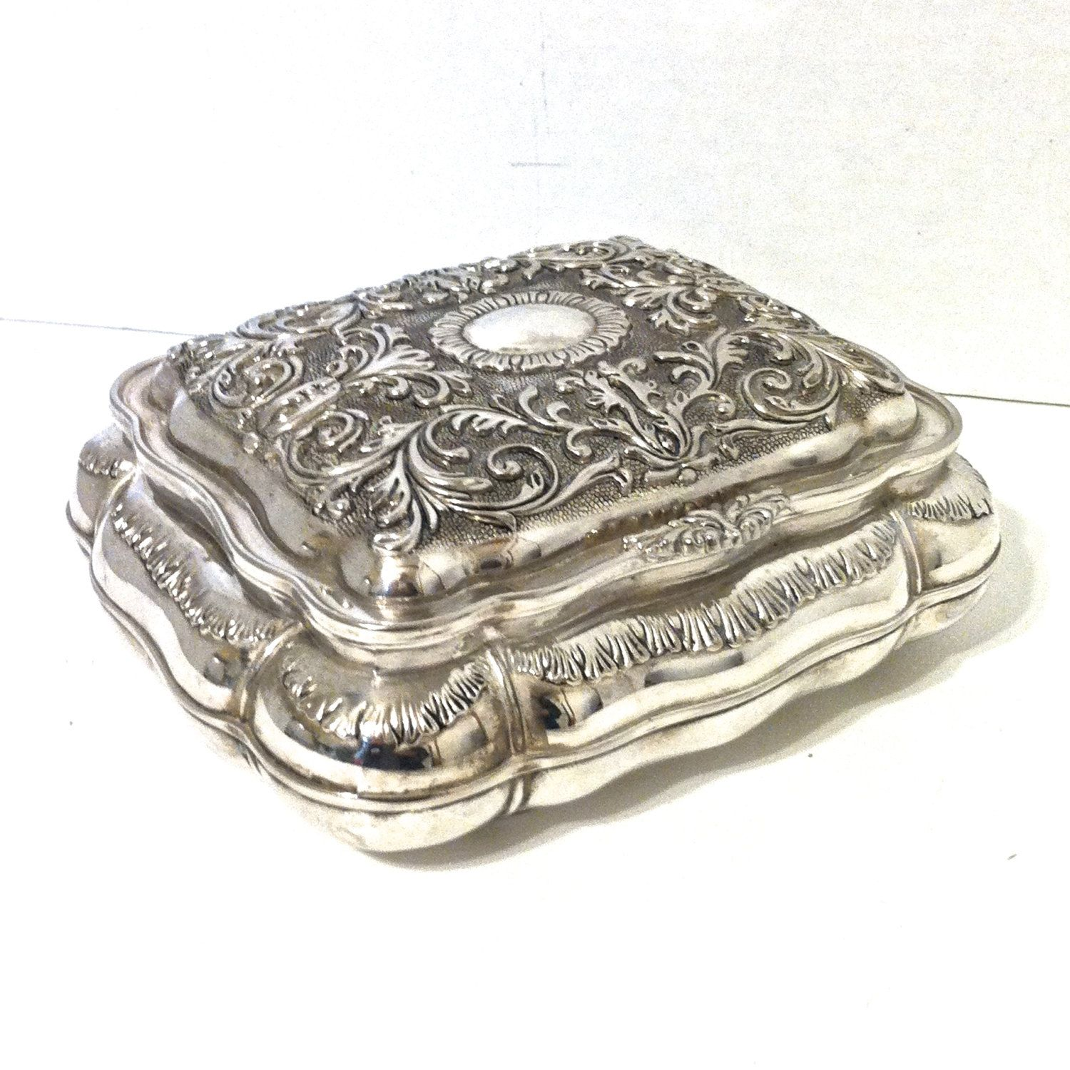 27 VIntage SILVER Plated JEWELRY BOX International Silver Co Silver