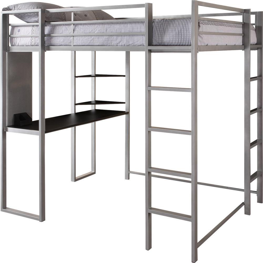 Dhp Alana Silver Full Metal Loft Bed With Desk De85862 The Home Depot Loft Bed Bunk Bed With Desk Diy Loft Bed