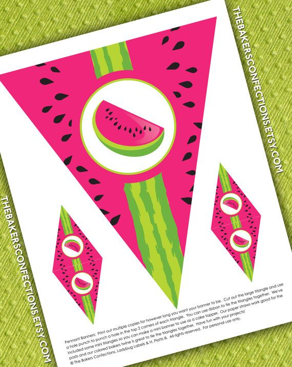 Printable Watermelon Pennant Banner Diy Full By Ladybuglabels