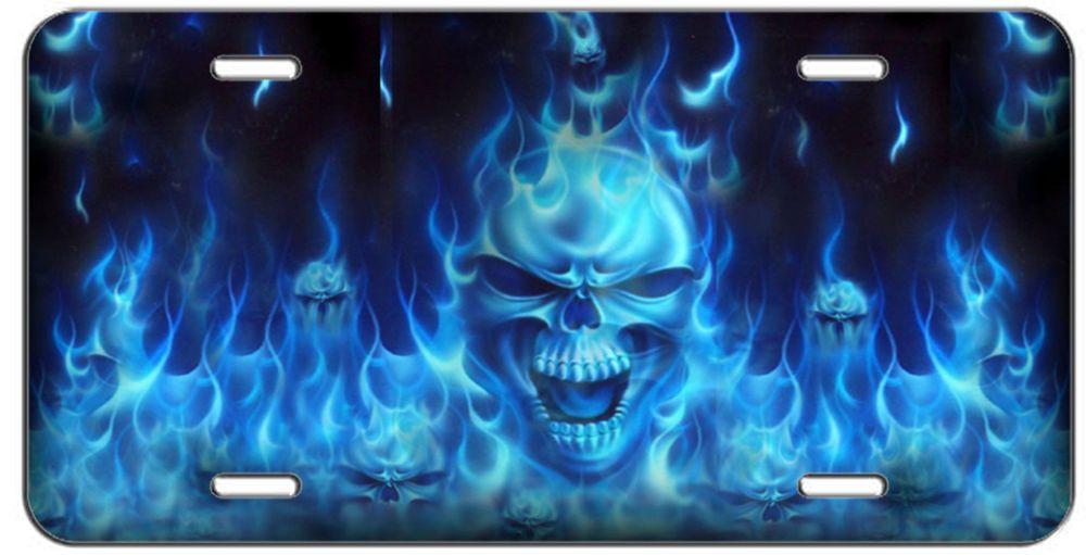 License Plate Blue Flaming Skulls Auto Tag Cool Stuff Skull