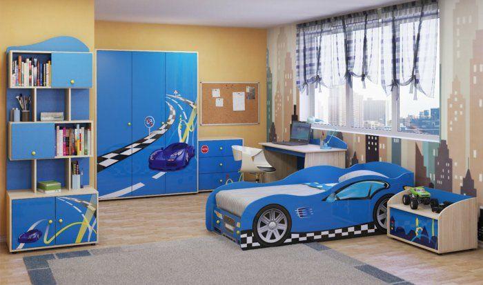 Einrichtungsidee Kinderzimmer In Blauer Farbe Gestalten Bett Wie Auto Blaues Design Fur Junge
