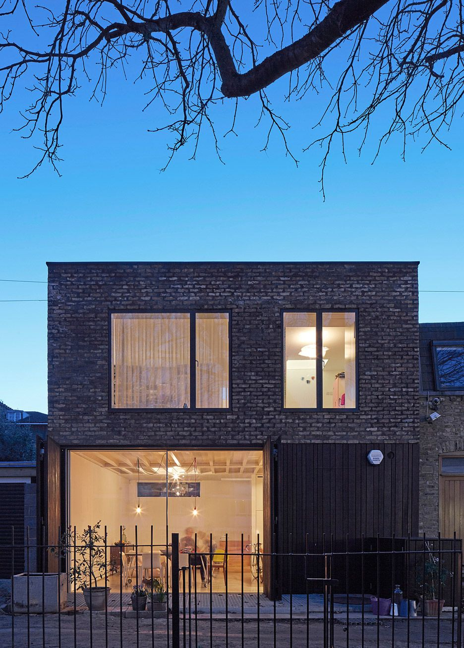 sam architects uses recycled brick and charred wood for london mews house - Mews House Design