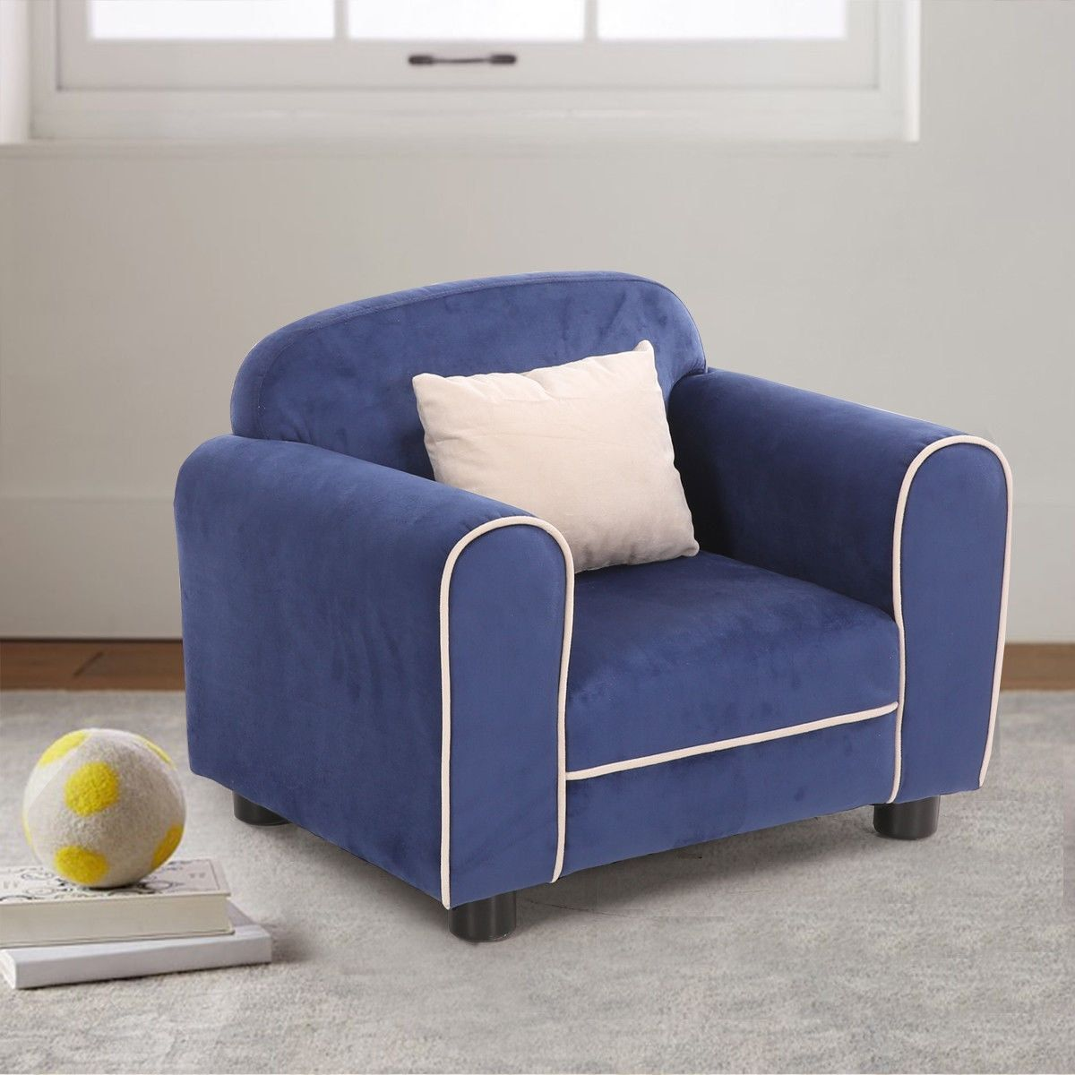 Beautiful Costway Blue Kids Sofa Armrest Chair Children Toddler Living Room Furniture  W Cushion