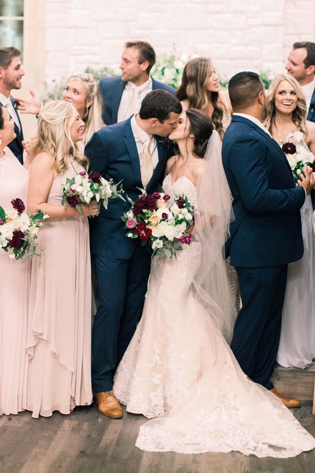 Love The Colour Combo Of This Bridal Party Blush Bridesmaid Dresses Gold Wedding Colors Wedding Colors