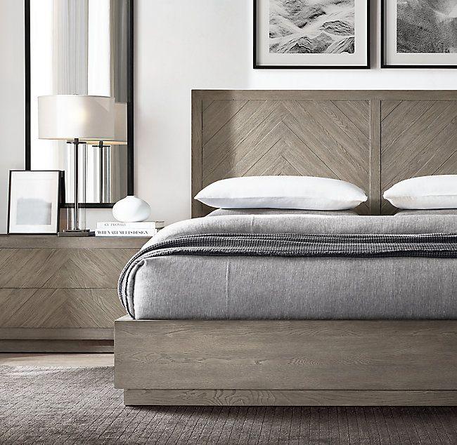 Herringbone Platform Bed Herringbone Bedroom Bedroom Furniture Makeover Oak Bedroom Furniture