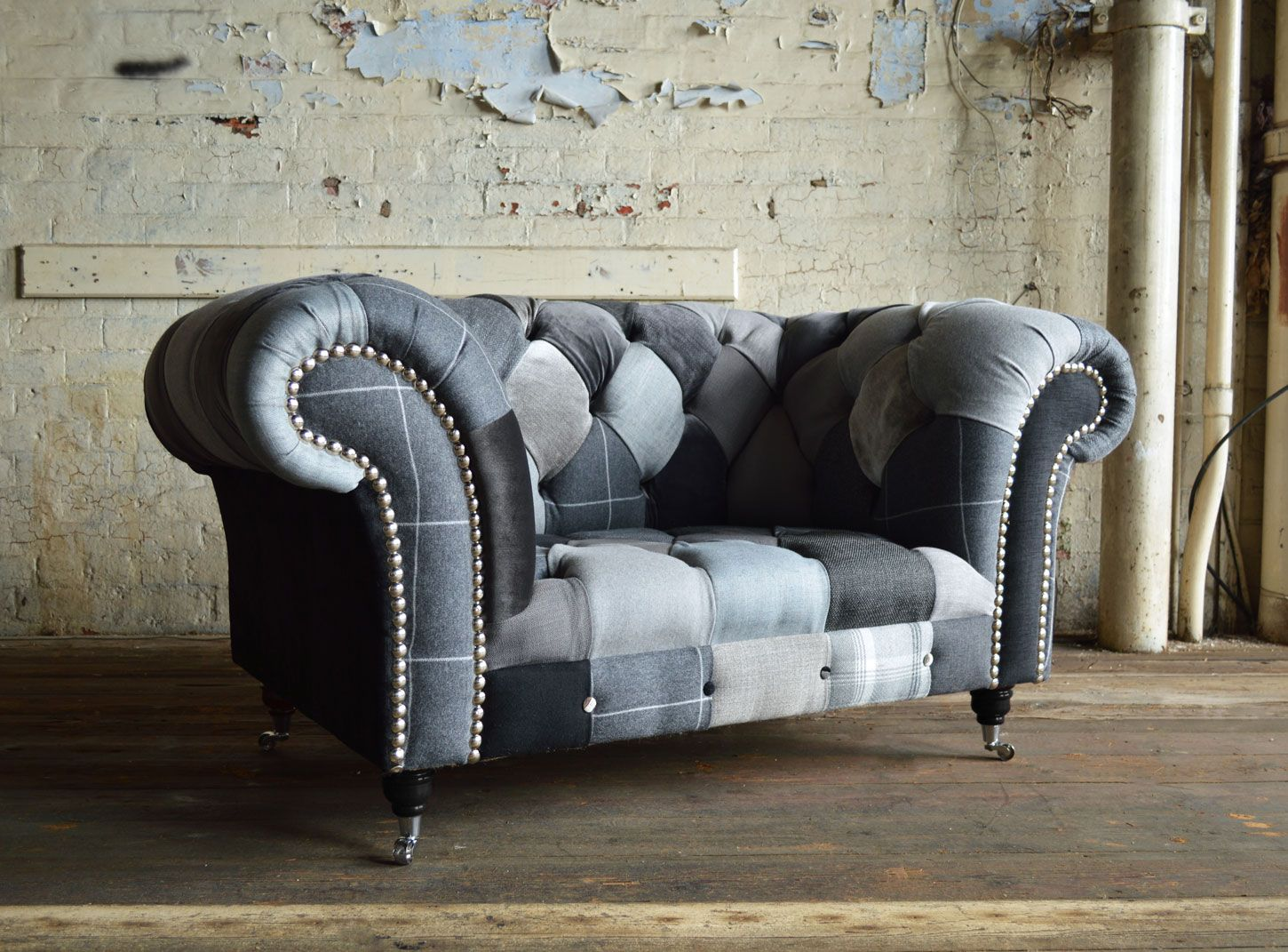 Modern British And Handmade Bold Ghost Patchwork Chesterfield Snuggle Chair Totally Unique Fabric Shown In A Range Of Monochrome Colours