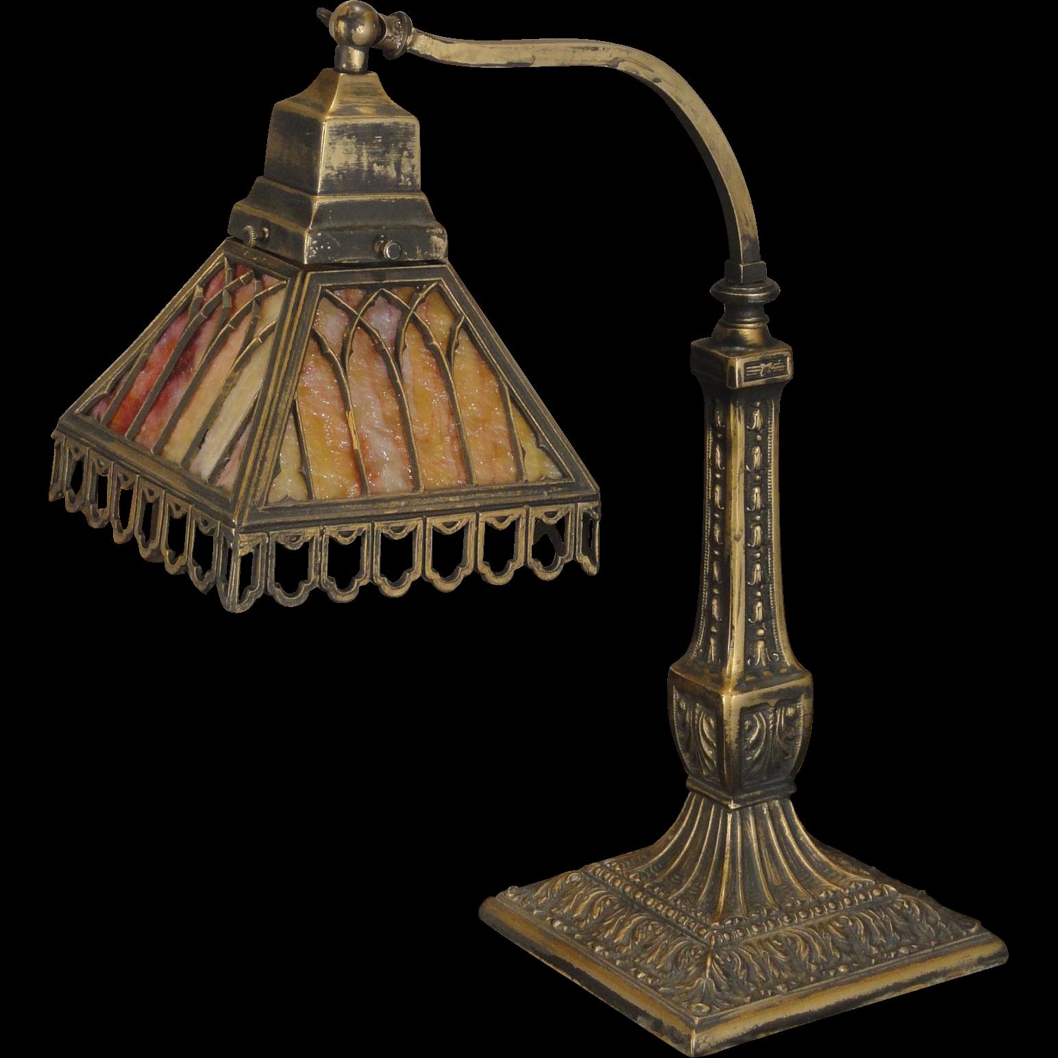 Pittsburgh gothic slag glass desk lamp from stidwillsantiques on ruby lane