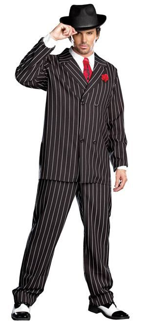 02db86a47a4 Men s Pinstripe Gangster Suit Costume - Show everyone who is boss with this  classic Gangster costume. It includes a black pinstriped double-breasted  jacjet ...