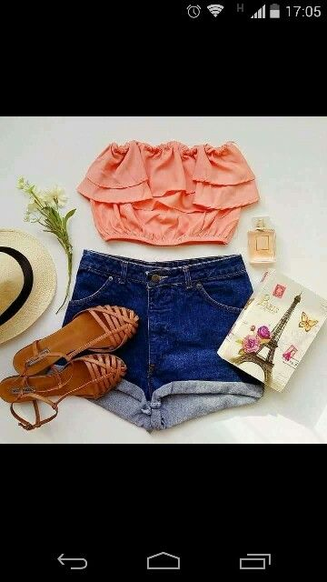 Summer dress. Coral top and short