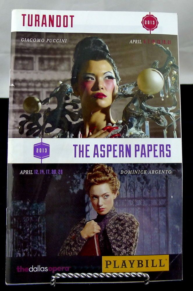 The Aspern Papers PLAYBILL The Dallas Opera April 2013  Winspear Opera House #TheAspernPapers #Dallas #Texas #Opera