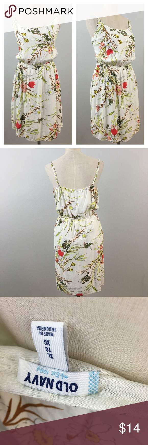 """Beautiful Printed Floral Tank Sun Dress Beautiful Printed Floral Tank Sun Dress. Size XL with stretch around the waist. Dress is fully lined and hits slightly above the knee in length.  Thank you for looking at my listing. Please feel free to comment with any questions (no trades/modeling).  •Length: 36"""" •Condition: VGUC, no visible flaws.   ✨Bundle and save!✨10% off 2 items, 20% off 3 items & 30% off 5+ items! FA Old Navy Dresses Mini"""
