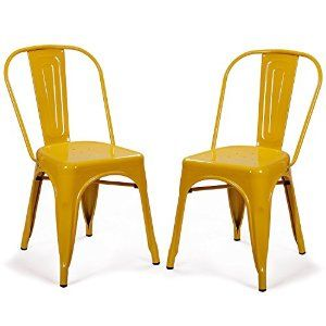 Amazon.com - 2016 NEW! Adeco Metal Stackable Industrial Chic Dining Bistro Cafe Side Chairs, Outdoor and Indoor, Yellow, Set of 2 - Chairs