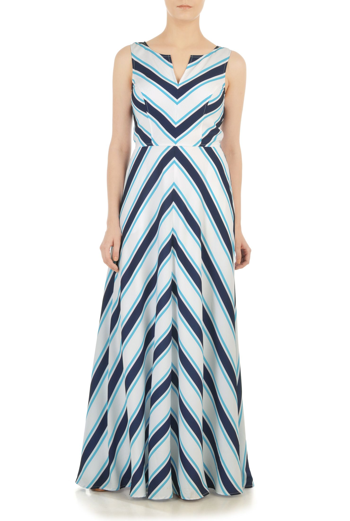 Chevron stripe crepe maxi dress   Casual gowns, Crepes and Maxi dresses
