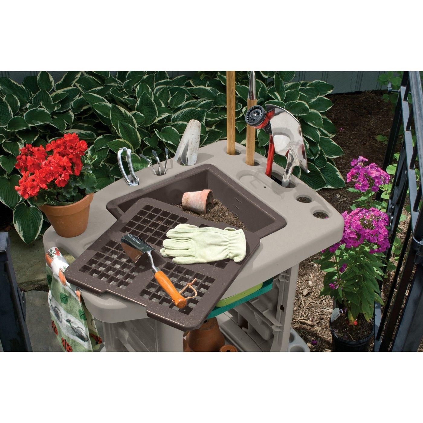 Resin Garden Center Garden Cart Taupe Brown Suncast Target Garden Cart Garden Station Potting Bench