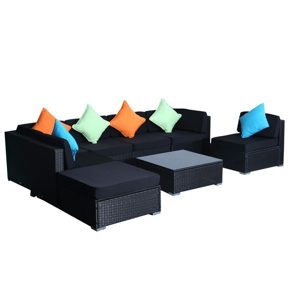 Buy Luxo Lanikai 8 Pcs PE Wicker Outdoor Lounge Setting ... on Luxo Living Outdoor id=23022