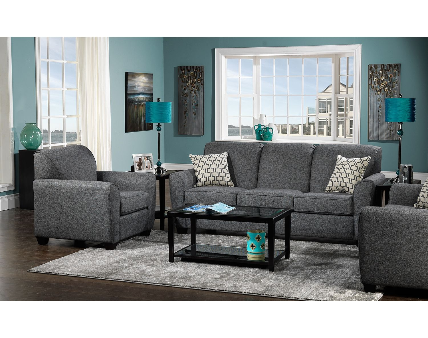 Smart Direction Give Your Decor A Strong New Perspective With The Ashby Grey Sofa Suited Up In Deep Living Room Turquoise Teal Living Rooms Living Room Grey