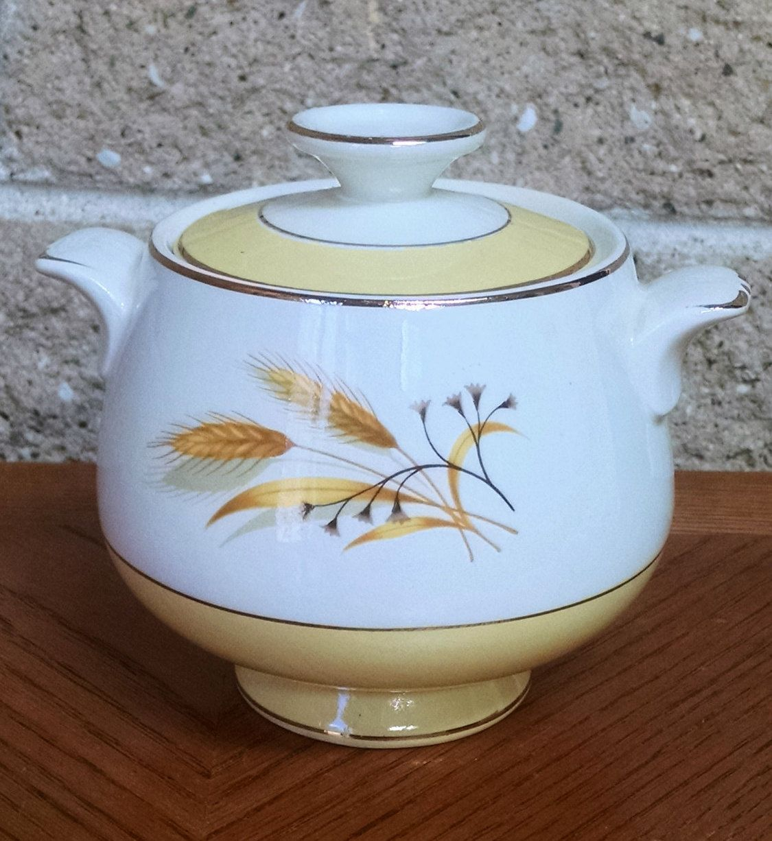 Autumn Gold Wheat Sugar Bowl Homer Laughlin China