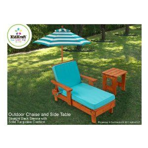 Kids Outdoor Chaise With Umbrella And Side Table The Great