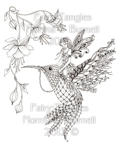 Magical Ride Fairy Tangles Coloring Sheet Fairies Hummingbird