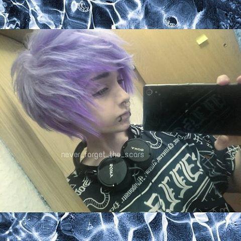 . Stressful day  So empty and tired qnq . Hair get more purple ;3; . #scenehair #scenekids #scene #sceneguy #sceneboy #emo #bluehair #emoguy #emoboy #emohair #goth #purplehair #fluffyhair #alternativeboy #alternative #dyedhair #alternativeguy #pastelgoth #Alternativehair #pierced #piercings #makeup #gayteen #gayboy #gay #snakebites #septum #kawaiiboy #otaku #fudanshi