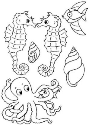 Coloring Pages Of Aquatic Animals : Glass sticker patterns dyes coloring books stencils glass
