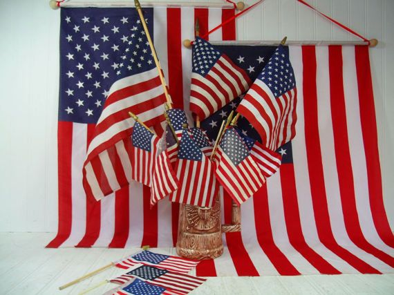 2327c1cc007 Vintage American Flags on Wooden Poles Collection of 16 Well Used Displayed  Naturally Aged Fabric USA Flags Variety of Condition   Sizes