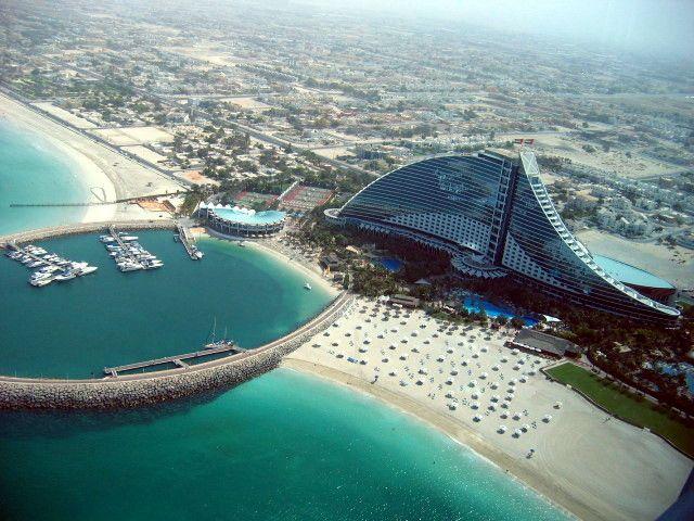 Aerial View Of The Jumaira Beach Hotel In Dubai Uae