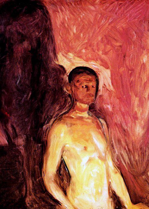 Edvard Munch. Self-Portrait in Hell. 1903. Oil on canvas. 82 x 65.5 cm. Munch Museum, Oslo, Norway.  7th grade student observations: He seems to be uncertain (epävarma), itsenäinen, hiljainen, outo, ylimielinen (arrocant), ylpeä (proud), vaikeasti tulkittava, mietteliäs, hupsu, ujo (shy).