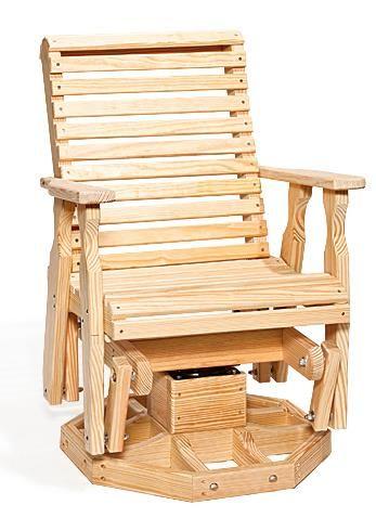 amish pine wood roll back swivel glider chair