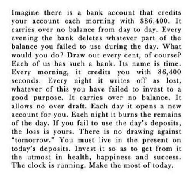 Time is precious, don't waste it.