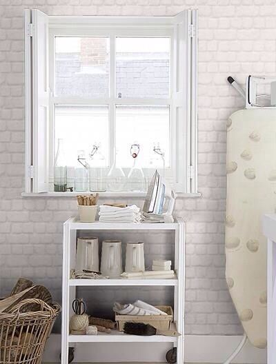 #226713 Albany Wallpaper~ It is a heavily textured wallpaper in a pale Gray Brick pattern.. Can't beat a kitchen backsplash for under $30 that Not only looks beautiful But is highly durable