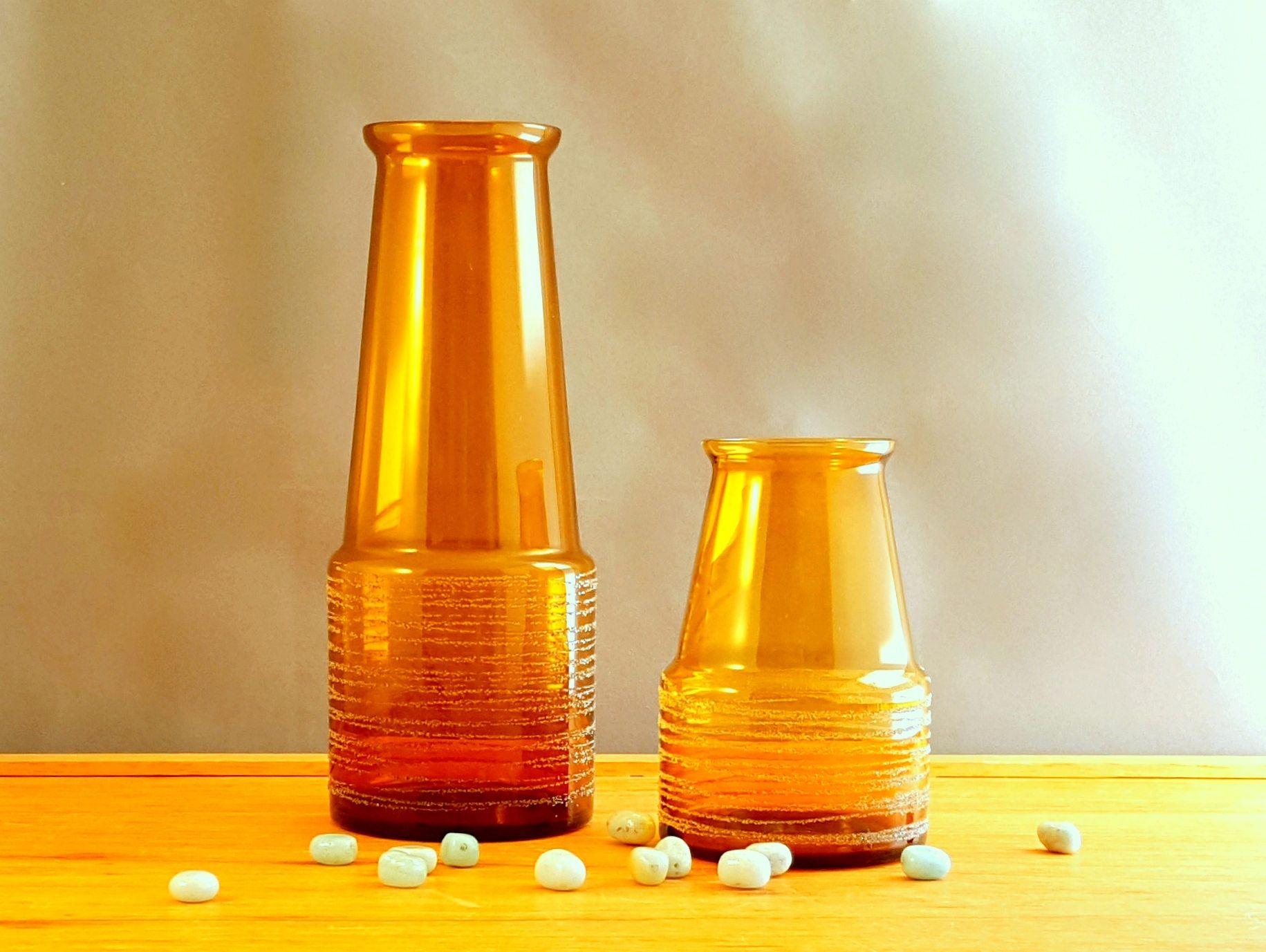2 Vases From Sea Glasbruk Sweden Design By Rune Strand Amber Glass By Mintstuudio On Etsy Amber Glass Glass Dish Soap Bottle