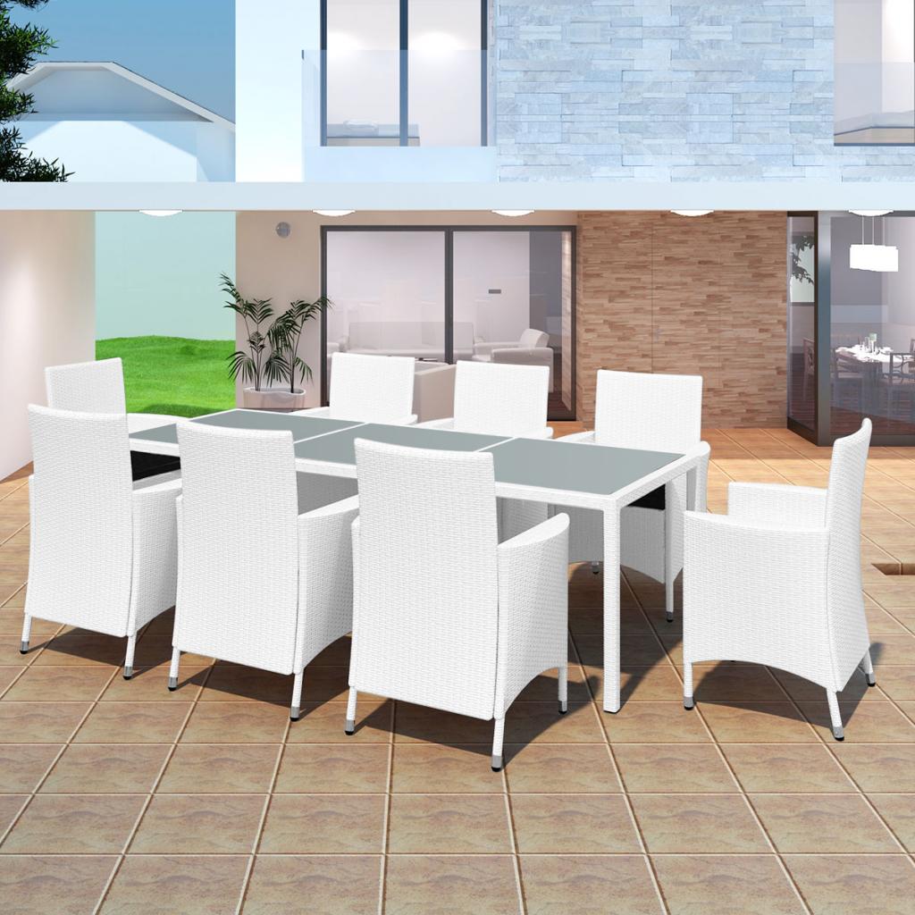 Stella Rattan Outdoor Dining Set 9 Piece (Off White | Rattan, Dining ...
