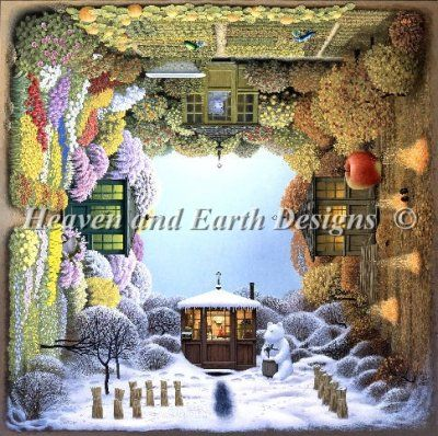 Four Seasons Artwork By Jacek Yerka Chart Design By Michele Sayetta For Heaven And Earth Designs Earth Design Painting Snow Cross Stitch Art